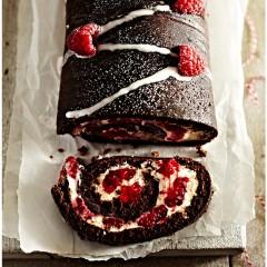 Χριστουγεννιάτικο  κέικ σοκολάτας με σμέουρα,κατάλληλο για vegans
